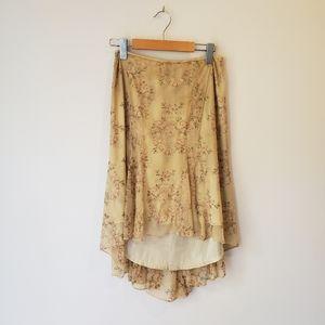E by Eci High Low Floral Mesh Skirt Cottagecore Boho Bohemian Floral Feminine